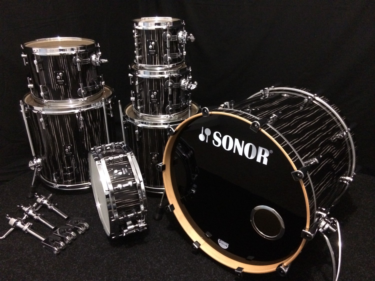 Sonor Prolite In Ebony White Stripes 7 Piece Shell